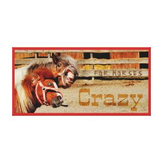 FUNNY HORSE ART.  CRAZY HORSES. LOVE FOR HORSES. CANVAS PRINT