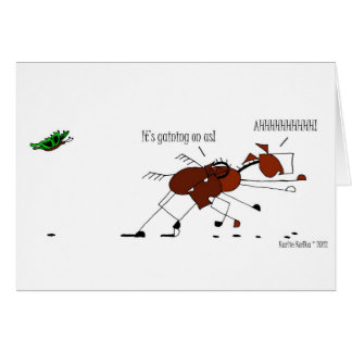Funny Horse & Butterfly Cartoon Card