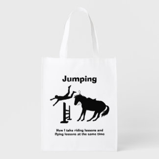 Funny Horse Jumping Flying Falling Humor Grocery Bag