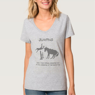 Funny Horse Jumping Flying Falling Humor T-Shirt