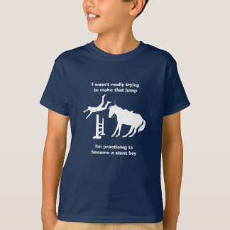 Funny Horse Jumping Stunt Boy In Training T-Shirt