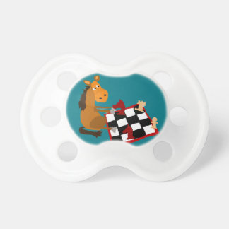 Funny Horse Playing Chess Art Original Pacifiers