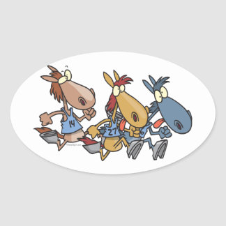 funny horse racing cartoon oval sticker