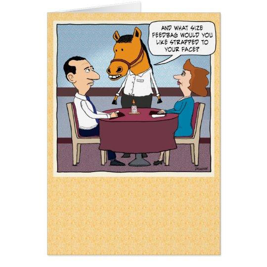 Funny Horse Waiter Birthday Card