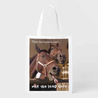 Funny Horses Reusable Grocery Bag