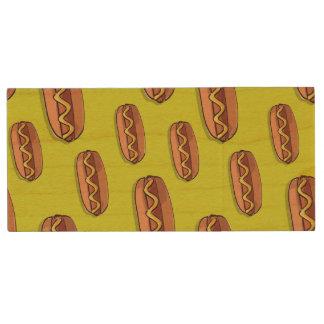 Funny Hot Dog Food Design Wood USB Flash Drive