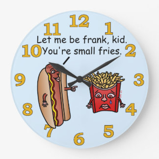 Funny Hot Dog French Fries Food Pun Clocks