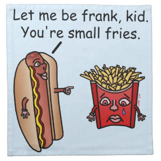 Funny Hot Dog French Fries Food Pun Printed Napkins