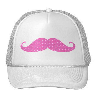 Funny Hot Pink Girly  Polka Dots Mustache Trucker Hat