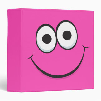 Funny hot pink happy cartoon face binder
