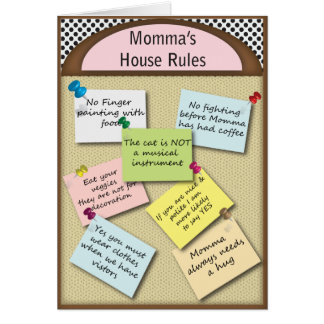 Funny  House Rules Card