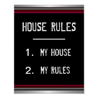 Funny House Rules Poster
