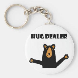 Funny Hug Dealer Black Bear Basic Round Button Keychain