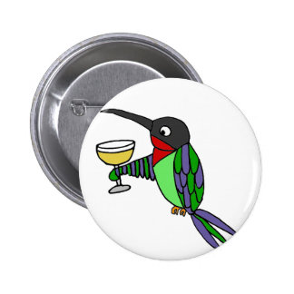 Funny Hummingbird with Wine 2 Inch Round Button