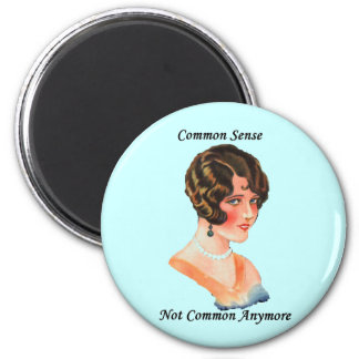Funny Humor Retro Woman Common Sense Joke 2 Inch Round Magnet