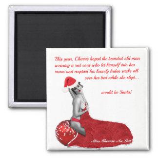 Funny Humorous Christmas Pinup Girl Santa Magnet