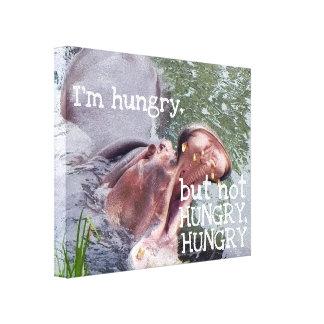Funny Hungry Hippo Quote Hippopotamus Photo Canvas Print