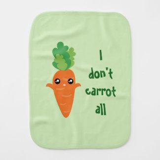 Funny I don't Carrot All Food Pun Humor Cartoon Burp Cloth
