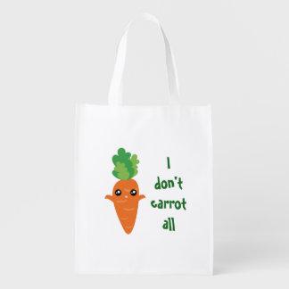 Funny I don't Carrot All Food Pun Humor Cartoon Reusable Grocery Bag