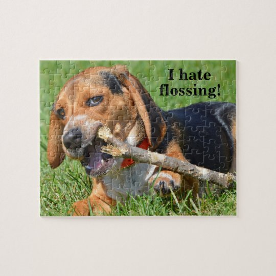 Funny I Hate Flossing Beagle Chewing On A Stick Jigsaw Puzzle