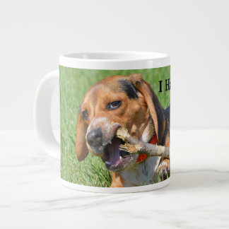 Funny I Hate Flossing Beagle Chewing On A Stick Large Coffee Mug