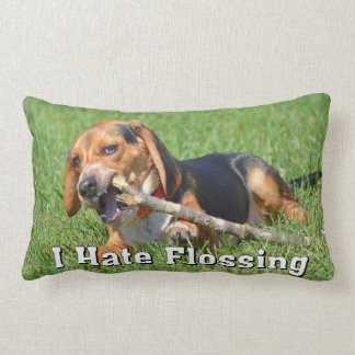 Funny I Hate Flossing Beagle Chewing On A Stick Lumbar Pillow