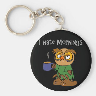 Funny I Hate Mornings Owl Cartoon Basic Round Button Keychain