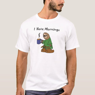 Funny I Hate Mornings Sloth Cartoon T-Shirt