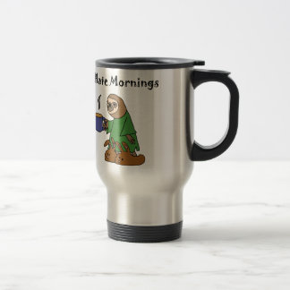 Funny I Hate Mornings Sloth Cartoon Travel Mug