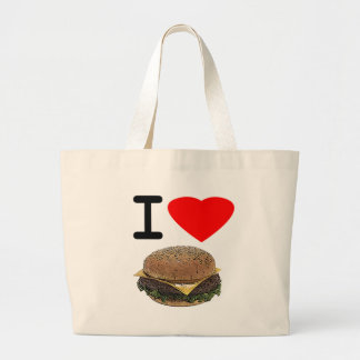 Funny I Love Cheeseburgers Large Tote Bag