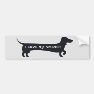 Funny I LOVE MY WIENER dachshund bumpersticker Bumper Sticker