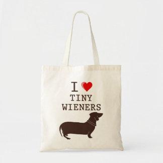 Funny I Love Tiny Wiener Dachshund Budget Tote Bag