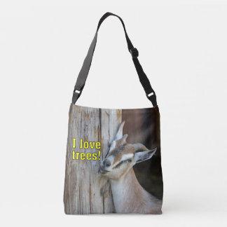 Funny I Love Trees Goat Leaning Against Tree Crossbody Bag