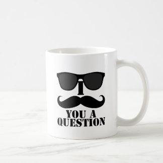 Funny I Moustache You A Question Black Sunglasses Coffee Mug