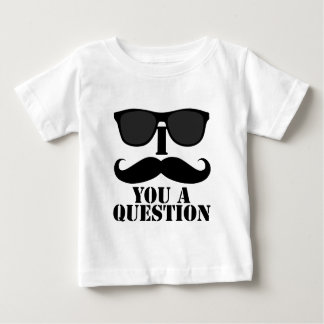Funny I Mustache You A Question Black Sunglasses Baby T-Shirt
