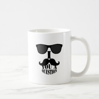 Funny I Mustache You A Question with Sunglasses Classic White Coffee Mug