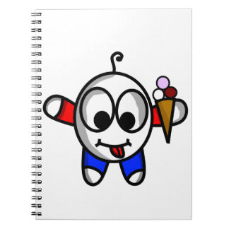 funny ice cream dude spiral notebook