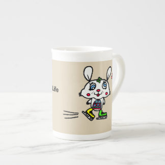 Funny Ice Skating Rabbit Tea Cup