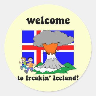 Funny Iceland volcano Classic Round Sticker
