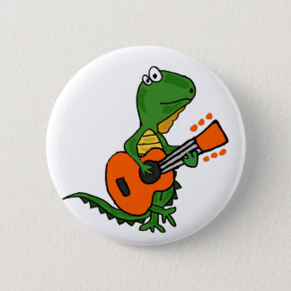 Funny Iguana Playing Guitar Cartoon 2 Inch Round Button