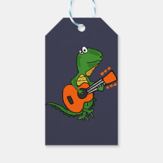 Funny Iguana Playing Guitar Cartoon Gift Tags