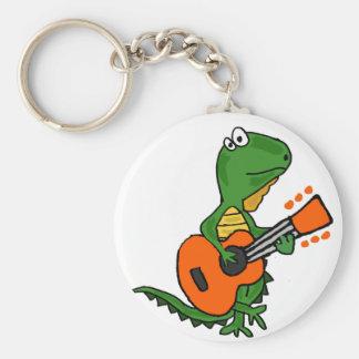 Funny Iguana Playing Guitar Cartoon Keychain