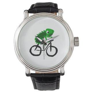 Funny Iguana Riding Bicycle Wrist Watch
