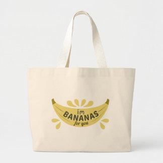 Funny illustration expression I'm bananas for you Large Tote Bag