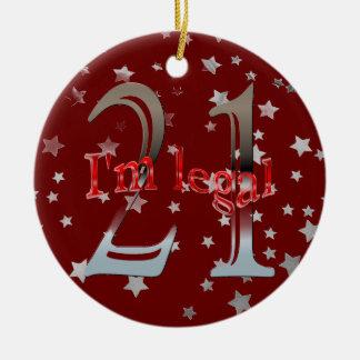 Funny I'm Legal 21st Birthday Stars Red Christmas Ceramic Ornament