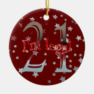 Funny I'm Legal 21st Birthday Stars Red Christmas Round Ceramic Ornament