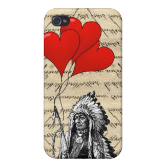 Funny Indian chief and heart balloons iPhone 4/4S Covers