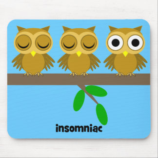 funny insomniac owl mouse pad