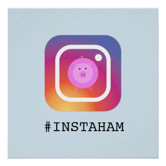 Funny Instagram Pig pun 'instaham' Poster
