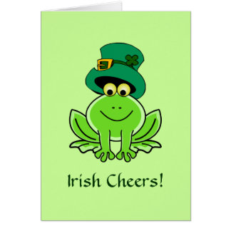 Funny Irish Frog Leprechaun Hat Card